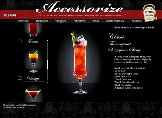 "Screenshot af Heering Flash website ""Accessorize"""